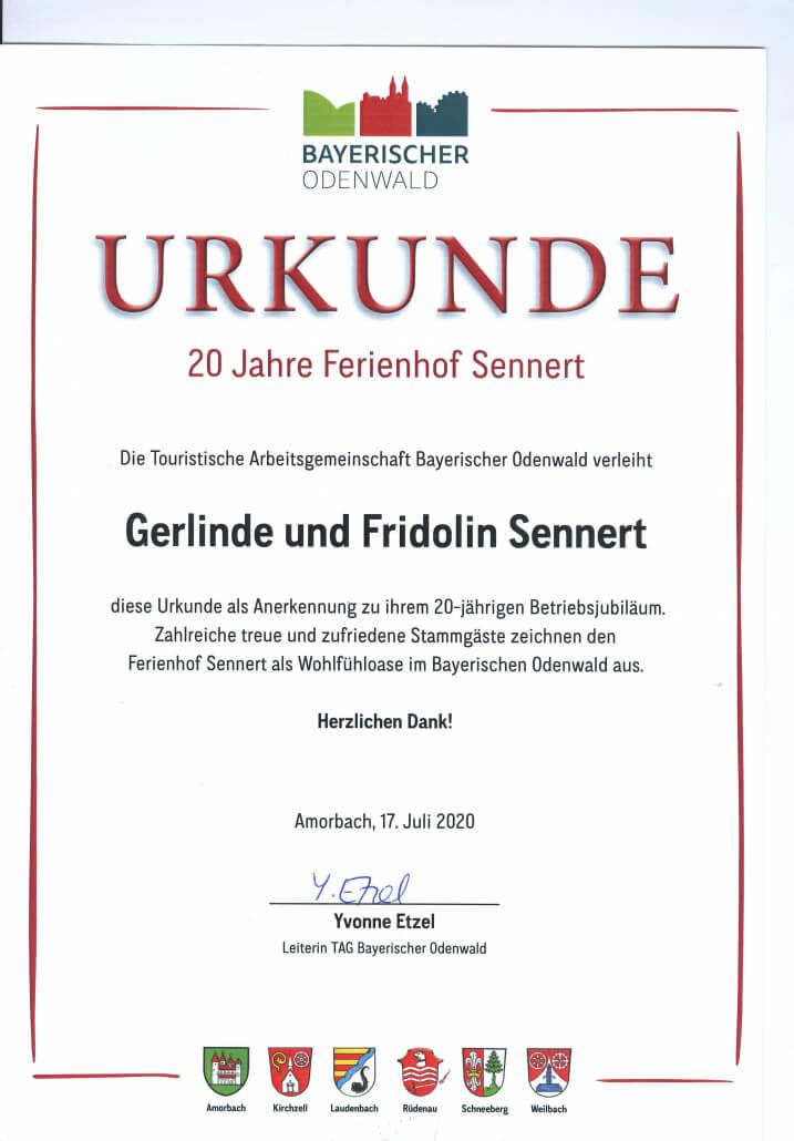 20 Jahre Ferienhof Urkunde