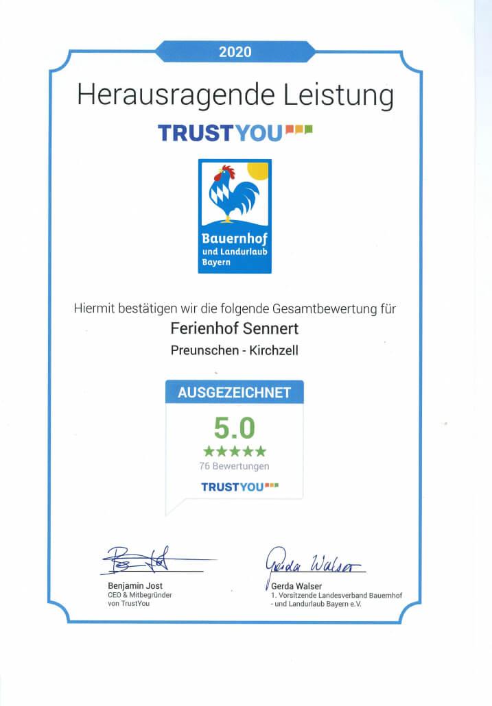 Trust You Urkunde 2020